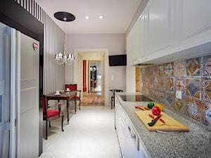 KAMIENICA W CENTRUM PŁOCKA - Średnia zamknięta biała kolorowa kuchnia dwurzędowa, styl eklektyczny - zdjęcie od DALMIKO DESIGN Pracownia Projektowa