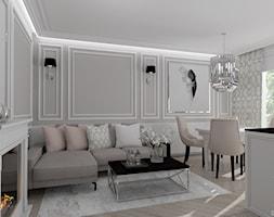 APARTAMENT NOWOJORSKI - Mały szary salon z kuchnią z jadalnią, styl klasyczny - zdjęcie od DALMIKO DESIGN Pracownia Projektowa