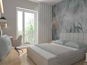 APARTAMENT DWUPOZIOMOWY - Średnia beżowa sypialnia małżeńska z balkonem / tarasem, styl nowoczesny - zdjęcie od DALMIKO DESIGN Pracownia Projektowa