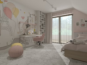 DOM PRZYJAZNY - Średni biały beżowy różowy pokój dziecka dla dziewczynki dla ucznia dla malucha dla nastolatka, styl nowoczesny - zdjęcie od DALMIKO DESIGN Pracownia Projektowa