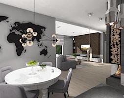 DOM GLOBTROTERÓW - Duża otwarta szara jadalnia w salonie, styl nowoczesny - zdjęcie od DALMIKO DESIGN Pracownia Projektowa