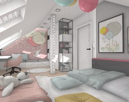 DOM NAD BRZEGIEM JEZIORA - Średni szary różowy pokój dziecka dla dziewczynki dla ucznia dla malucha dla nastolatka, styl nowoczesny - zdjęcie od DALMIKO DESIGN Pracownia Projektowa