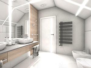 DOM Z WIDOKIEM NA WISŁĘ - Duża brązowa szara łazienka na poddaszu w domu jednorodzinnym, styl nowoczesny - zdjęcie od DALMIKO DESIGN Pracownia Projektowa