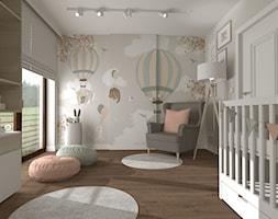 DOM PRZYJAZNY - Średni biały beżowy pokój dziecka dla dziewczynki dla niemowlaka, styl nowoczesny - zdjęcie od DALMIKO DESIGN Pracownia Projektowa
