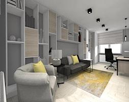 DOM Z KOZĄ - Duże szare biuro domowe kącik do pracy w pokoju, styl nowoczesny - zdjęcie od DALMIKO DESIGN Pracownia Projektowa