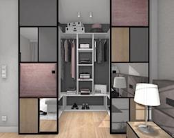 MIESZKANIE Z DREWNEM - Mała otwarta garderoba przy sypialni, styl nowoczesny - zdjęcie od DALMIKO DESIGN Pracownia Projektowa