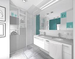 INDUSTRIALNE MIESZKANIE - Mała biała łazienka w bloku w domu jednorodzinnym bez okna, styl nowoczesny - zdjęcie od DALMIKO DESIGN Pracownia Projektowa