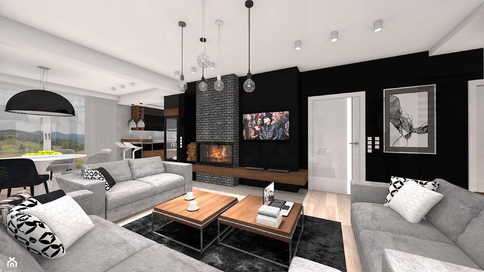 DOM Z WIDOKIEM NA WISŁĘ - Duży biały czarny salon z kuchnią z jadalnią, styl nowoczesny - zdjęcie od DALMIKO DESIGN Pracownia Projektowa - Homebook