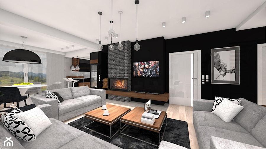 DOM Z WIDOKIEM NA WISŁĘ - Duży biały czarny salon z kuchnią z jadalnią, styl nowoczesny - zdjęcie od DALMIKO DESIGN Pracownia Projektowa