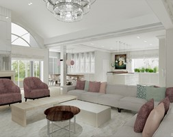 HOLLYWOODZKI SZNYT - Duży biały salon z kuchnią z jadalnią, styl nowoczesny - zdjęcie od DALMIKO DESIGN Pracownia Projektowa - Homebook