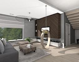 DOM GLOBTROTERÓW - Duży szary salon, styl nowoczesny - zdjęcie od DALMIKO DESIGN Pracownia Projektowa