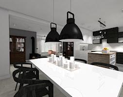 DOM Z KOZĄ - Duża otwarta biała jadalnia w kuchni, styl industrialny - zdjęcie od DALMIKO DESIGN Pracownia Projektowa