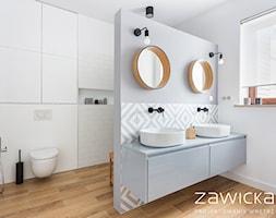 Remont w Wilanowie - Średnia biała szara łazienka, styl nowoczesny - zdjęcie od ZAWICKA-ID Projektowanie wnętrz