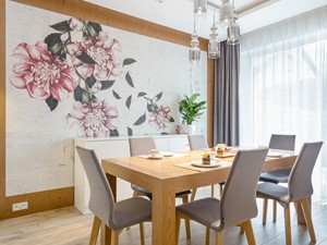 Dom jednorodzinny pod Warszawą - konkurs - Duża otwarta biała beżowa jadalnia w salonie, styl nowoczesny - zdjęcie od ZAWICKA-ID Projektowanie wnętrz