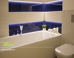 Mała beżowa łazienka w bloku bez okna, styl nowoczesny - zdjęcie od PELIKAM