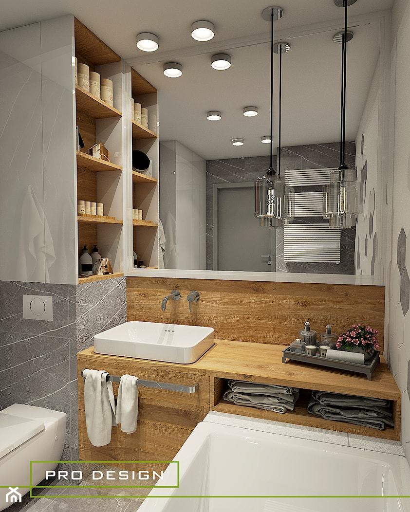 ŁAZIENKA W HEKSAGONACH - JASIENICA - Mała łazienka w bloku w domu jednorodzinnym bez okna - zdjęcie od PRODESIGN - Homebook