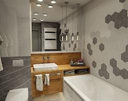 ŁAZIENKA W HEKSAGONACH - JASIENICA - Średnia beżowa łazienka w bloku w domu jednorodzinnym bez okna - zdjęcie od PRO DESIGN Projektowanie wnętrz