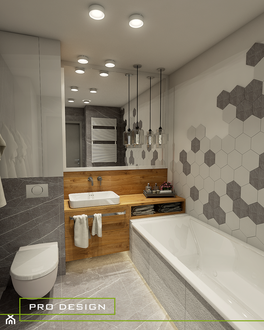 ŁAZIENKA W HEKSAGONACH - JASIENICA - Średnia beżowa łazienka w bloku w domu jednorodzinnym bez okna - zdjęcie od PRODESIGN