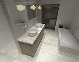 Łazienka - Średnia biała beżowa łazienka z oknem, styl tradycyjny - zdjęcie od Patyna Projekt