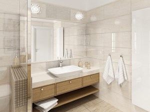 Łazienka klasyczna - Średnia biała beżowa łazienka, styl tradycyjny - zdjęcie od Sublidea Agata Pala
