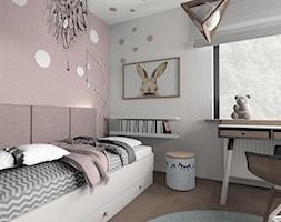 dom jednorodzinny Pruszków - Mały szary różowy pokój dziecka dla chłopca dla dziewczynki dla ucznia dla nastolatka - zdjęcie od Olivkadesign
