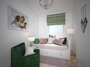 Warszawskie Art Deco - Mały biały pokój dziecka dla dziewczynki dla malucha dla nastolatka, styl art deco - zdjęcie od 4 kąty a stół 5