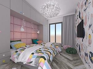 """""""Secret Project - Apartament z widokiem na park a za nim morze"""" - Średni szary kolorowy pokój dziecka dla chłopca dla dziewczynki dla rodzeństwa dla malucha dla nastolatka, styl nowoczesny - zdjęcie od 4 kąty a stół 5"""