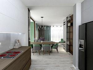 Szczepankowo - Średnia otwarta biała szara jadalnia w kuchni w salonie, styl industrialny - zdjęcie od ememstudio