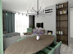 Szczepankowo - Średnia otwarta szara jadalnia w salonie, styl industrialny - zdjęcie od ememstudio
