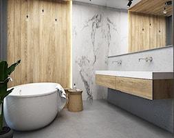 Salon łazienkowy - Średnia szara łazienka na poddaszu w bloku w domu jednorodzinnym bez okna, styl minimalistyczny - zdjęcie od FOORMA Pracownia Architektury Wnętrz