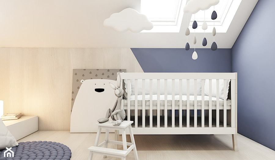 Dom w Skawinie - Mały biały niebieski pokój dziecka dla chłopca dla dziewczynki dla niemowlaka, styl skandynawski - zdjęcie od FOORMA Pracownia Architektury Wnętrz