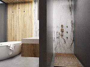 Salon łazienkowy - Duża czarna łazienka jako salon kąpielowy, styl minimalistyczny - zdjęcie od FOORMA Pracownia Architektury Wnętrz