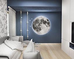 0aa174b94c046f Pokój chłopca - Średni szary niebieski pokój dziecka dla chłopca dla  nastolatka, styl nowoczesny -