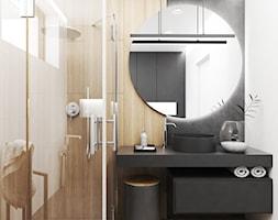 Dom Kraków - Mała czarna szara łazienka w bloku w domu jednorodzinnym z oknem, styl nowoczesny - zdjęcie od FOORMA Pracownia Architektury Wnętrz - Homebook
