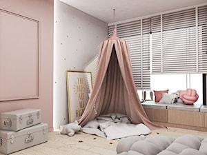 Dom Tychy II - Mały szary różowy pokój dziecka dla dziewczynki dla malucha, styl nowoczesny - zdjęcie od FOORMA Pracownia Architektury Wnętrz
