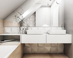Łazienka poddasze Kraków - Średnia biała szara łazienka na poddaszu w domu jednorodzinnym z oknem, styl skandynawski - zdjęcie od FOORMA Pracownia Architektury Wnętrz