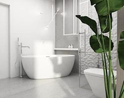 Łazienka Tychy - Mała biała szara łazienka na poddaszu w bloku w domu jednorodzinnym bez okna, styl nowoczesny - zdjęcie od FOORMA Pracownia Architektury Wnętrz