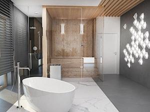 Salon łazienkowy - Duża biała czarna łazienka na poddaszu w bloku w domu jednorodzinnym z oknem, styl nowoczesny - zdjęcie od FOORMA Pracownia Architektury Wnętrz