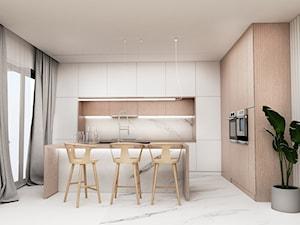 Dom Tychy II - Średnia otwarta szara kuchnia w kształcie litery l z wyspą z oknem, styl nowoczesny - zdjęcie od FOORMA Pracownia Architektury Wnętrz