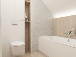 Dom w Skawinie - Średnia biała szara łazienka na poddaszu w domu jednorodzinnym bez okna, styl nowoczesny - zdjęcie od FOORMA Pracownia Architektury Wnętrz