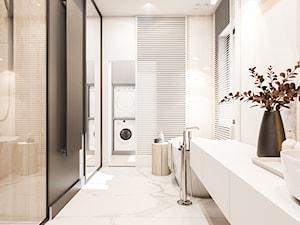 Dom Warszawa - Średnia biała łazienka z oknem, styl nowoczesny - zdjęcie od FOORMA Pracownia Architektury Wnętrz