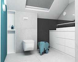 Łazienki - Średnia biała czarna niebieska łazienka na poddaszu dla dzieci z oknem, styl minimalistyczny - zdjęcie od FOORMA Pracownia Architektury Wnętrz