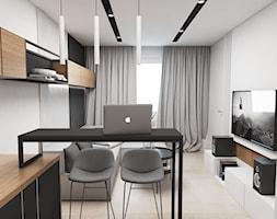 Kawalerka Mysłowice - Mały biały salon z bibiloteczką z kuchnią z jadalnią, styl nowoczesny - zdjęcie od FOORMA Pracownia Architektury Wnętrz