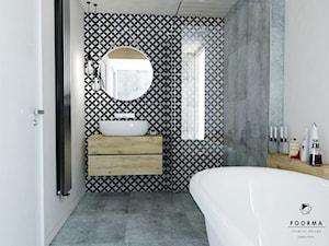 Łazienka - Średnia biała szara kolorowa łazienka, styl vintage - zdjęcie od FOORMA Pracownia Architektury Wnętrz