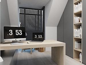 Dom Mogilany - Średnie szare biuro kącik do pracy na poddaszu, styl nowoczesny - zdjęcie od FOORMA Pracownia Architektury Wnętrz