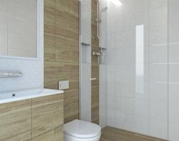 Łazienka Gliwice - Średnia biała brązowa łazienka w bloku bez okna, styl minimalistyczny - zdjęcie od FOORMA Pracownia Architektury Wnętrz