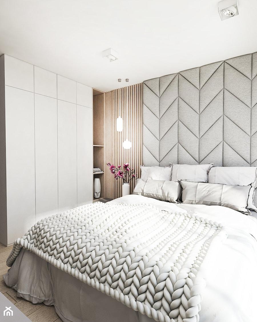 Mieszkanie Tychy - Mała beżowa szara sypialnia małżeńska, styl skandynawski - zdjęcie od FOORMA Pracownia Architektury Wnętrz