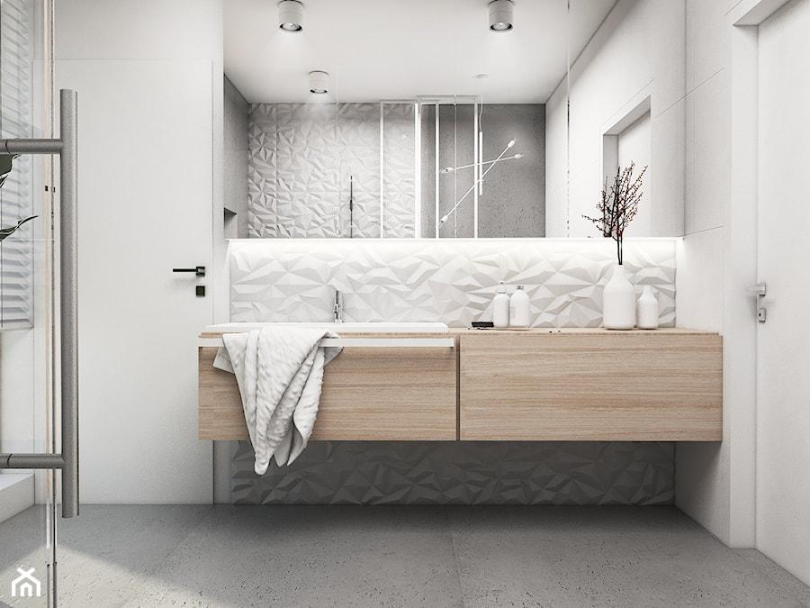 Łazienka Tychy - Mała biała łazienka na poddaszu w bloku w domu jednorodzinnym z oknem, styl nowoczesny - zdjęcie od FOORMA Pracownia Architektury Wnętrz
