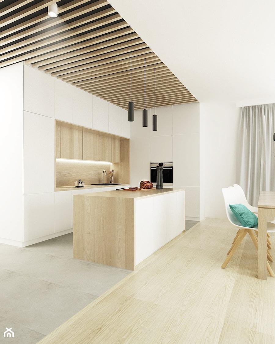 Średnia otwarta kuchnia w kształcie litery l w aneksie z wyspą, styl skandynawski - zdjęcie od FOORMA Pracownia Architektury Wnętrz