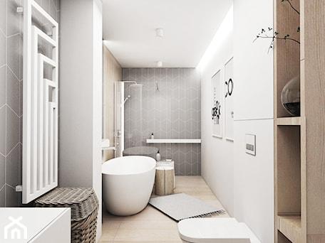 Aranżacje wnętrz - Łazienka: Mieszkanie Tychy - Średnia biała łazienka w bloku w domu jednorodzinnym bez okna, styl skandynawski - FOORMA Pracownia Architektury Wnętrz. Przeglądaj, dodawaj i zapisuj najlepsze zdjęcia, pomysły i inspiracje designerskie. W bazie mamy już prawie milion fotografii!